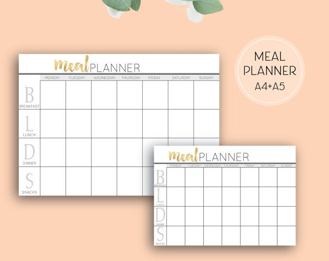 Printable Meal Planner, Digital Download Health & Fitness Planner Pages in A4 and A5 sizes