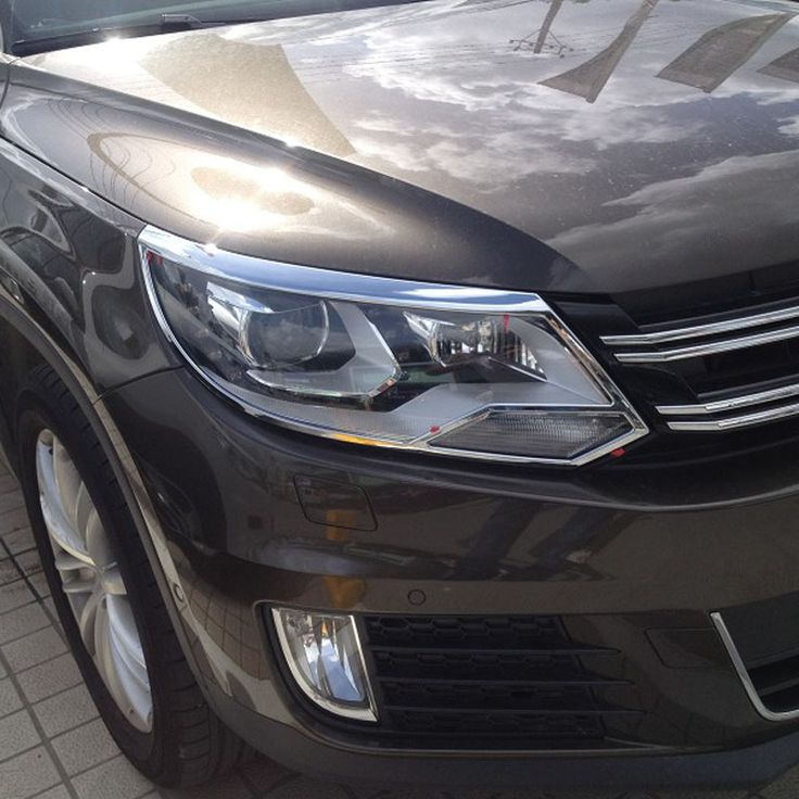 car cover Car ABS Chrome Head Light Headlamp Cover For Volkswagen For Tiguan 2013 Auto Accessories