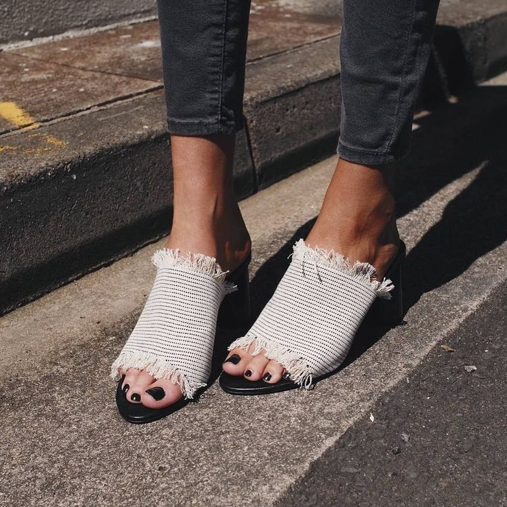 A open toe design mule featuring monochrome fringing set on a wearable  polished cylinder heel. - Synthetic upper and lining - Open toe mule -  Black and ...