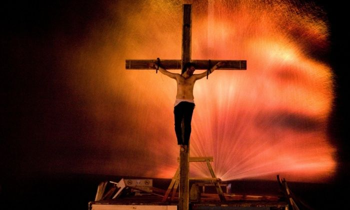 Cross purposes … Michael Sheen in a modern reworking of the passion, Gospel of Us.
