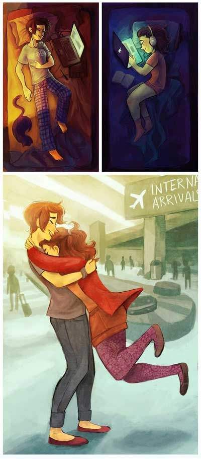 Long distance relationships. Seeing each other again is literally one of the best feelings ever
