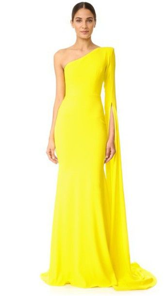 Alex Perry Aurore Gown - Yellow of the Shoulder Asymmetrical Dress worn by Nicole O'Neil on the Real Housewives of Sydney | Satin Crepe One Shoulder Long Sleeve Gown