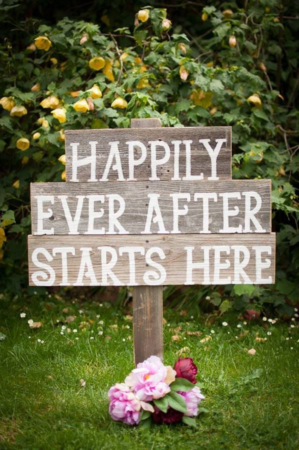 'Happily Ever After Starts Here' Rustic wooden sign with bouquet of pink peonies ...just right for a wedding..mysweeteventhire