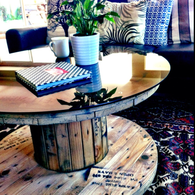 Cable reel coffee table :-) determined to do