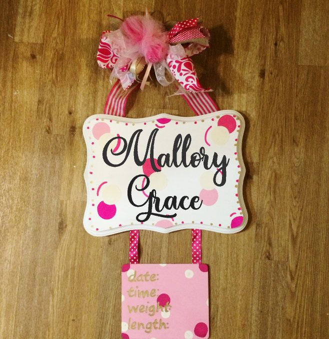 Baby Girl Hospital Door Sign, Baby Girl Door Hanger, Baby Girl Birth Announcement, It's A Girl,  Pink And Gold Nursery Decor, Nursery Sign by TallahatchieDesigns on Etsy https://www.etsy.com/listing/593310235/baby-girl-hospital-door-sign-baby-girl