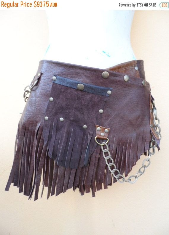 """20% OFF Burning Man fringed choc leather belt with stud detail.chain and pocket ...36"""" to 48'' waist or hips.."""