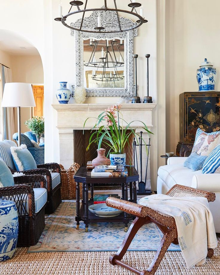 Mark d sikes blue and white pinterest living rooms for Mark d sikes living room
