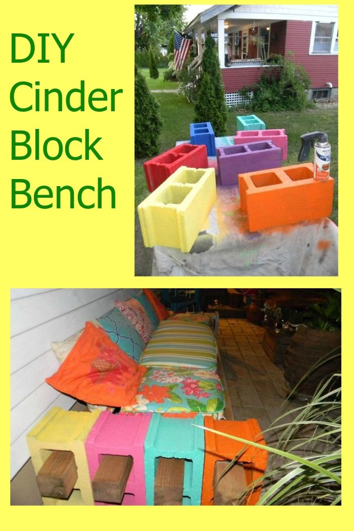 Use cinder block to make a colorful DIY outdoor bench.