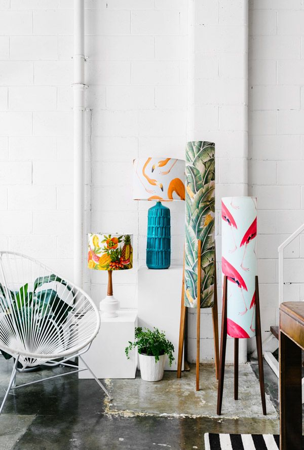 The colourful Brunswick studio of Tamara Watts of Retro Print Revival, the creator of retro inspired lamps. Photo by Brooke Holm for thedesignfiles.net