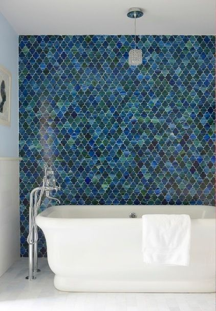 Beach Style Bathroom by threshold interiors OOhhhh - I love the tiles. Wonder of they'd work as a backsplash?