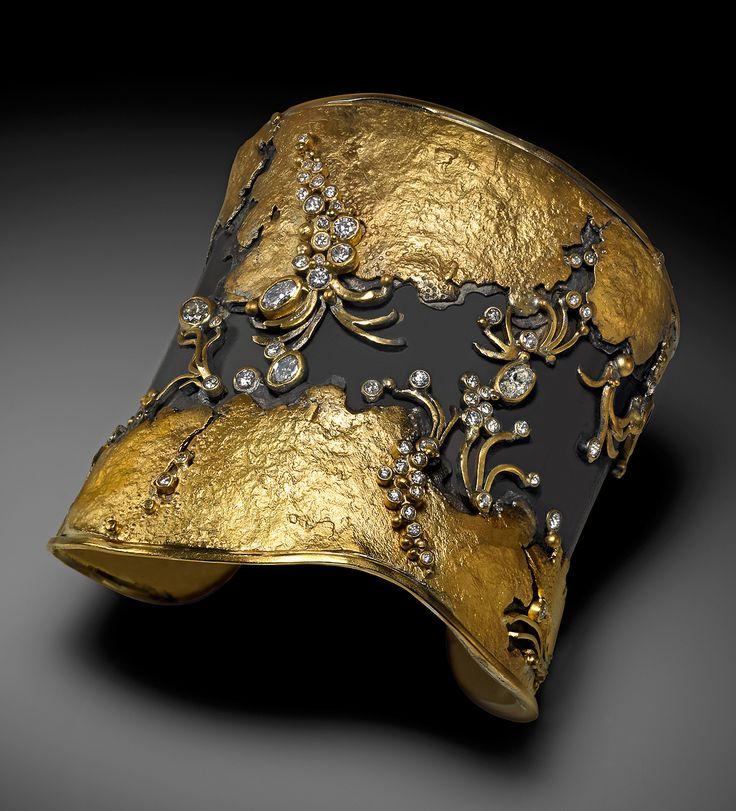 Judith kaufman cuff bracelet 22k gold oxidized fine for 22k gold jewelry usa
