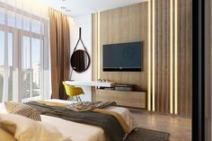 Спальня с элементами лофта, кирпичной стеной, индустриальными светильниками и стеклянной гардеробной