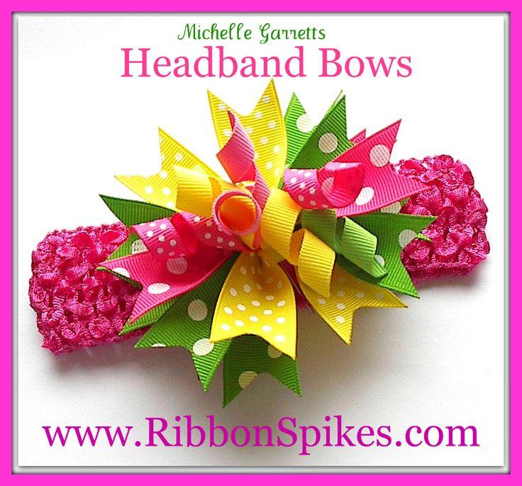 corker bows ribbon spikes hair bows on headband