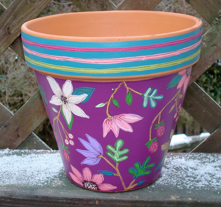 "Hand Painted Flower Pot 8 Inch- ""Berry Fine Floral""- Ready to Ship. $34.00, via Etsy."