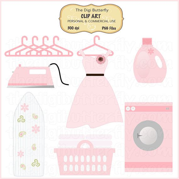 Pink Laundry Room Clip Art Set  Personal and by thedigibutterfly, $5.00