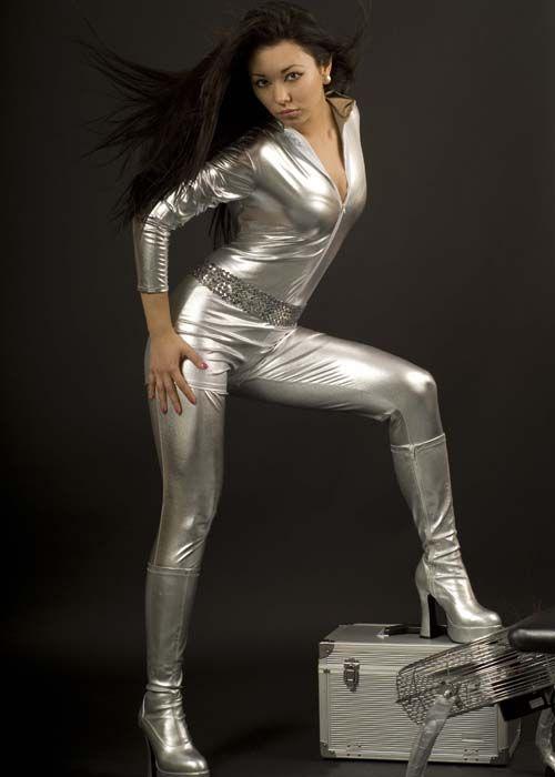 Ladies 70's Glam Rock Silver Catsuit Costume