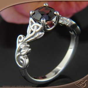 Design Your Own Ring, Unique Engagement Rings and Wedding Bands, Custom Jewelry Celtic Leaf and Vine 4-Prong Mounting