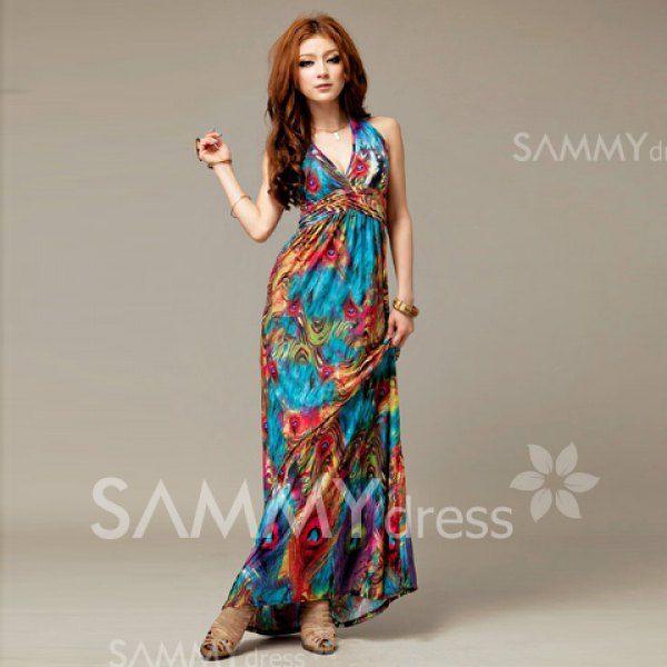 $8.65 Alluring V-Neckline Peacock Print Sleeveless Maxi Dress For Women