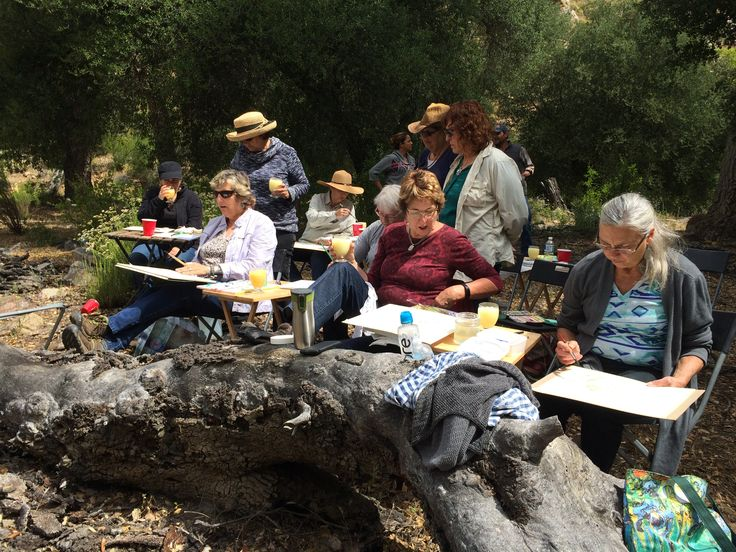 Hard at work with Melon Margaritas in hand......Watercolor and mixed media workshop with Helen Shafer Garcia at Rancho La Bellota May 5-8, 2016.