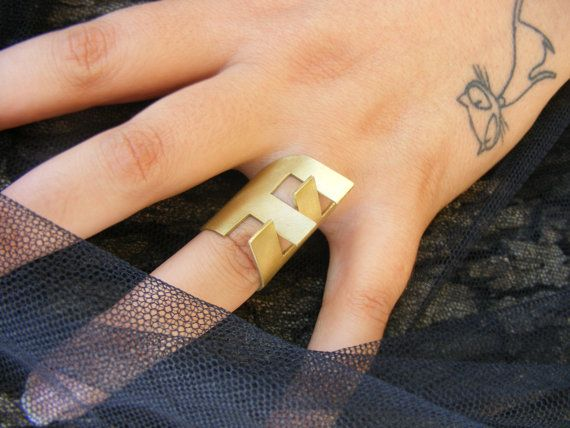 Geometric Statement Ring  Adjustable Statement Ring  by EVANORY
