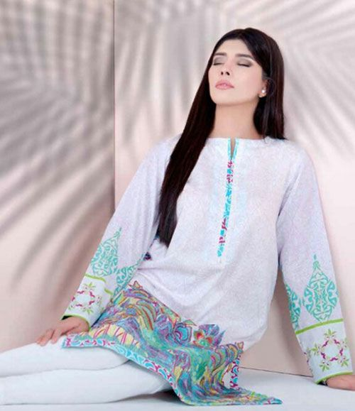 Doha embroidered lawn kurtis collection 215_A