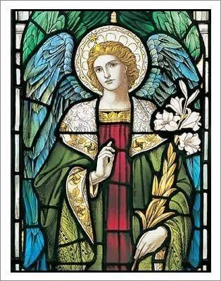 Arch Angel Gabriel - Stained Glass with the lily- peace, love, communication. Water, feminine energy connections, moon.