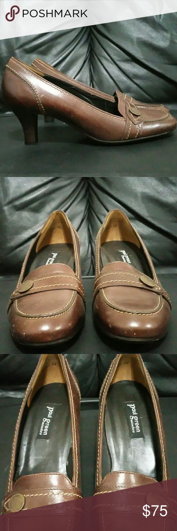 Paul Green Leather Pumps Size is a narrow 9 there's no stretch or giving room at all. It's very solid in form. Minimal flaws or wear. Paul Green Shoes Heels