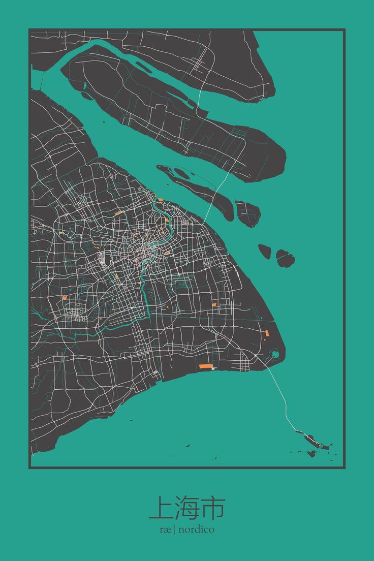 Shanghai map print 125 best City u0026
