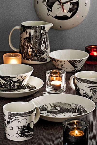 Iittala Moomin crockery and Iittala candle holders