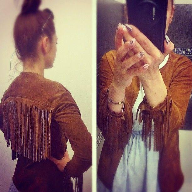 #sewing #Jacket #leather #fringe #tassel #boho #western #fashion #pattern #szyjemy #kurtka #frędzle #skóra #camel #Carmel #brown #city #jeans #fun ✌✂