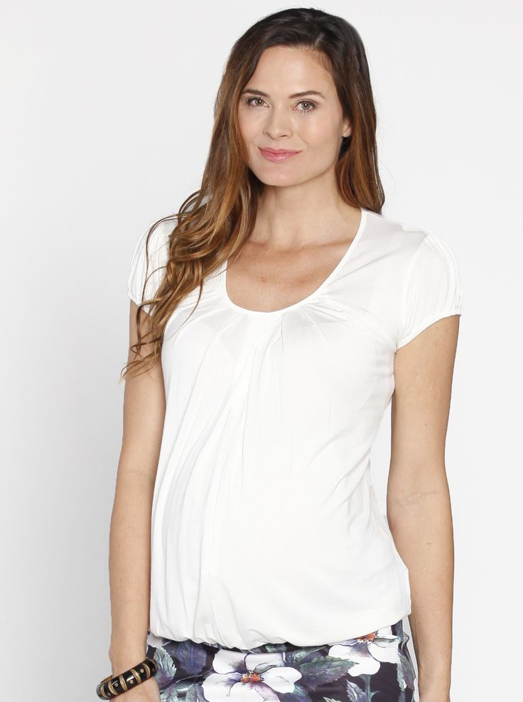 Hidden Zipper Nursing Top in White, $39.95, has a concealed centre front opening for easy feeding.