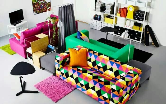 the colorful sofa is fire!! ikea furniture. #ikea living room