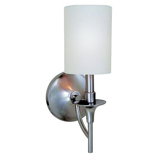 The Sea Gull Lighting Stirling one light wall sconce in brushed nickel provides abundant light for your bath vanity, while adding a layer of today's style to your interior design. Stirling with its chic style and eclectic twist brings clean, modern lines to a traditional soul. White linen drum shades in combination with brushed nickel finish is eye-catching and inviting.