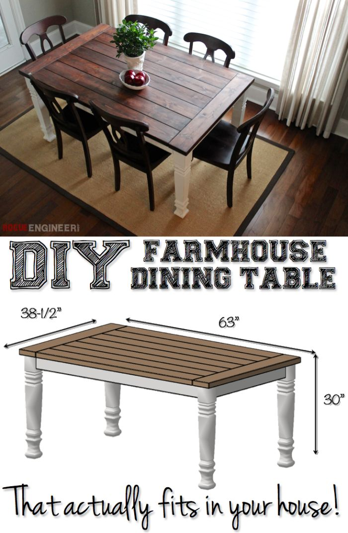DIY Farmhouse Dining Table Plans   Free Diy Plans | Rogueengineer.com  #FarmhouseDiningTable #