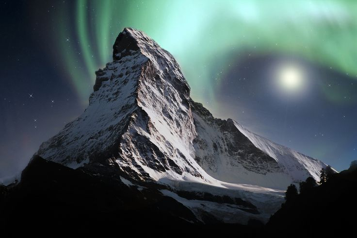 Northern Lights over Matterhorn | by Di Day. [2048x1365] -Please check the website for more pics