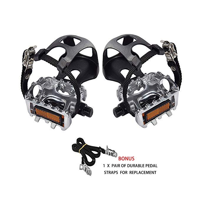 Abrafit 9 16 Inch Premium Quality Bicycle Pedals With Toe Clips