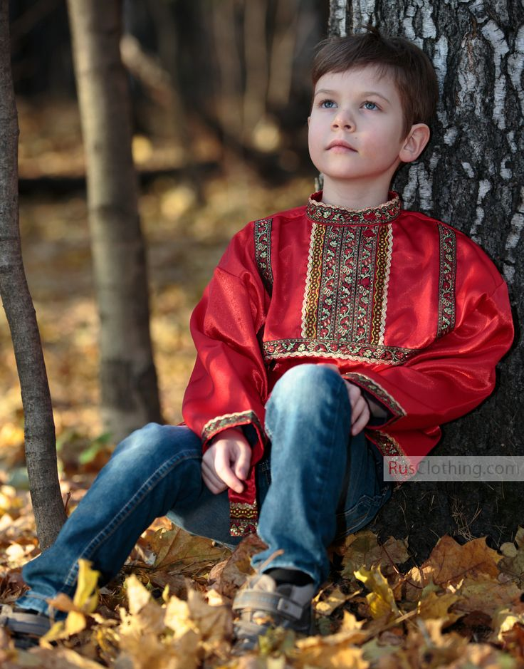 red traditional russian silk shirt