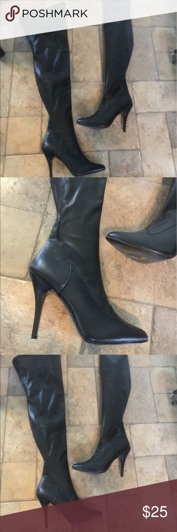 Black thigh High Boots Sz 8 Super sexy thigh high boots Sz 8.Only worn a few times.great condition.inside zippers. pleasers Shoes Heeled Boots