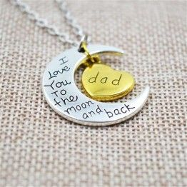 TOMTOSH I Love You To The Moon And Back Silver Family Necklaces