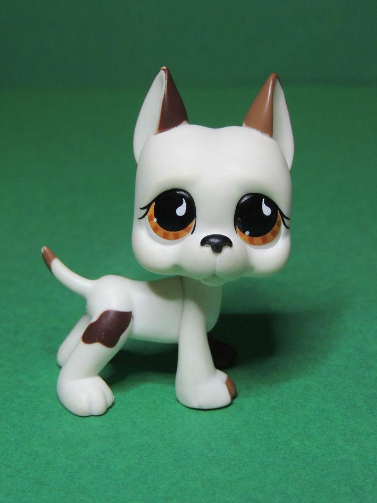 #750 chien dogue White great dane dog brown eyes LPS Littlest Pet Shop Figure