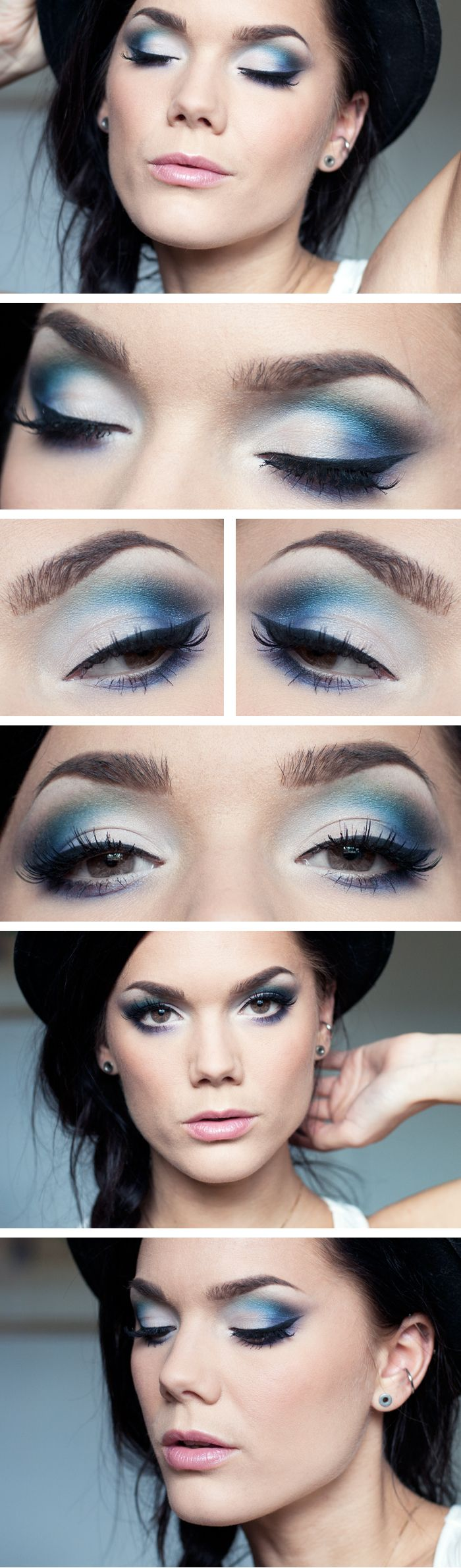 Linda Hallberg. I like how blue eye shadow makes her eyes look almost brown, while browns, greens, and purples make her eyes pop in bright blue. Ah the beauty of color pigments.