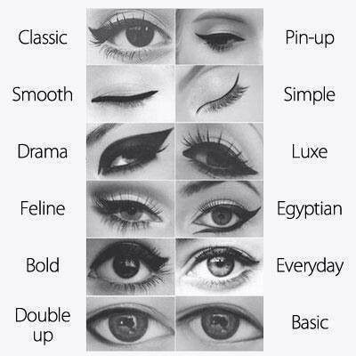 I love this! Various winged eyeliner looks