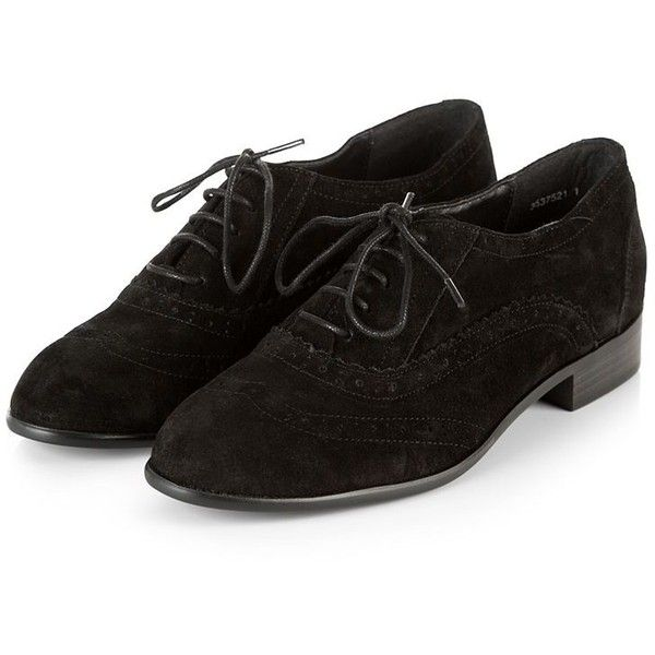 Black Suede Lace Up Brogues ($43) ❤ liked on Polyvore featuring shoes, oxfords, oxford shoes, wingtip shoes, suede brogues, lace up shoes and black brogues