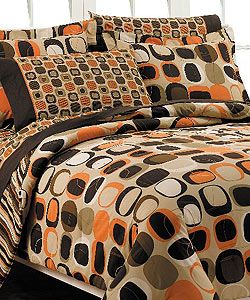 brown and orange bedding | Opus Orange Bed in a Bag with Sheet Set | Overstock.com