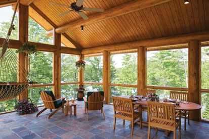 Screened Porch Log Home Screened Porch Pinterest