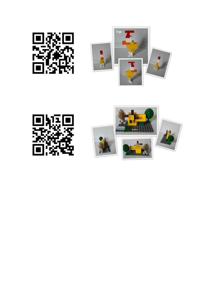 Lego bouwsels om begrippen te oefenen en ruimtelijke oriëntatie. Foto's van een kip gemaakt en een molen. Kids kunnen inzoomen om details te bekijken. Elke foto zit in een doosje bij elkaar. Zo wordt 'onze lego' nu ingezet in bij de kleuters in de groep. De QR code kunnen ze zelf scannen en dan met de lego erbij aan de slag.