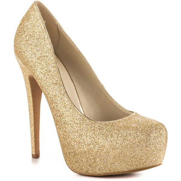 Aldo Women's Frius - Champagne ($80) ❤ liked on Polyvore featuring shoes, gold platform shoes, glitter shoes, high heel platform shoes, off white shoes and sparkle shoes