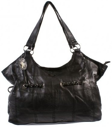 Large Real Leather Shoulder / Tote Bag with Interwoven Chain Design (Black)