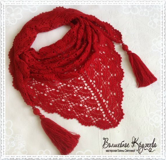 #Crochet_hand_made_mini-shawl #crochet_scarf_shawl #shawl_handmade #cotton_crochet_shawl #crochet_baktus #baktus #Spring_accessory #Autumn_accessory #Summer_accessory #A_gift_for_a_woman ##Red_bactus
