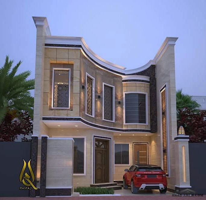 واجهات بيوت عراقية عرض 5 متر و أقل منوع Arab Arch House Styles House Design House